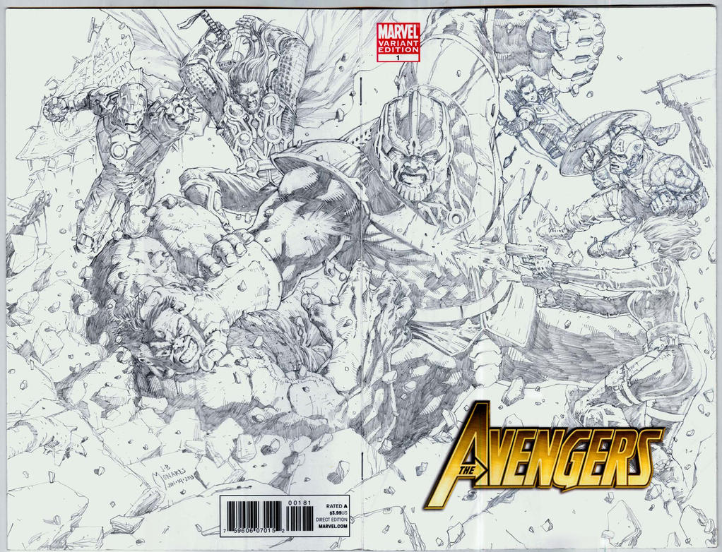 Avengers vs Thanos sketch covers by werder