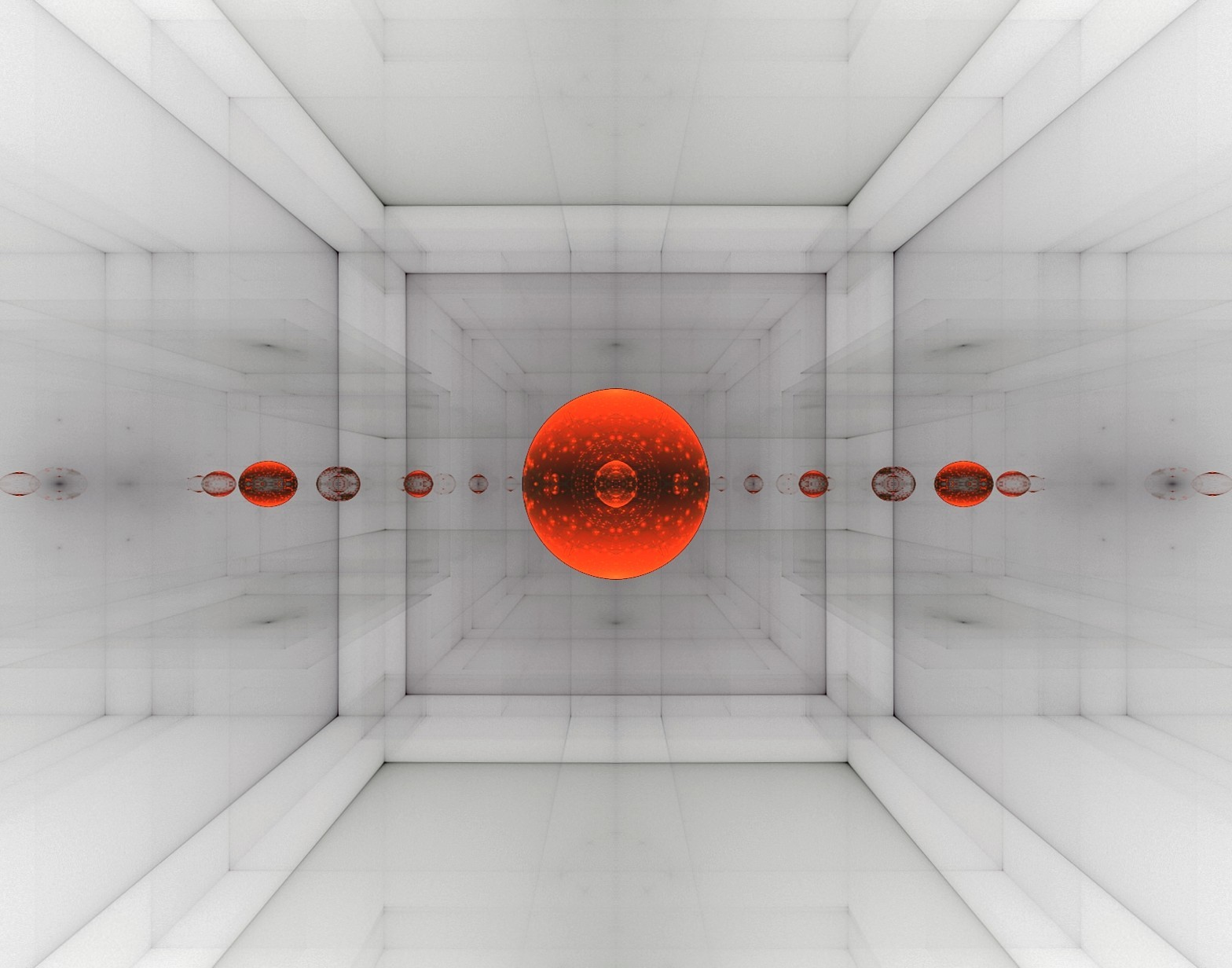 Red floating in white room by eReSaW