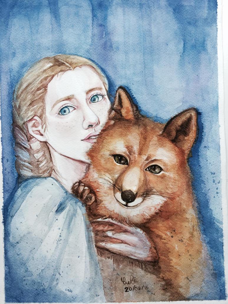 Girl and red fox! by YuujinDi