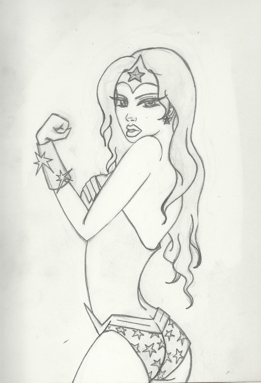 Animeish Wonder Woman Sketch by Winged-warrior