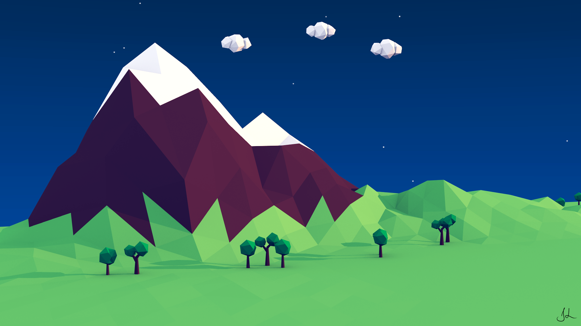 Jordan 11 Low Collection Low Poly Mountain by j...