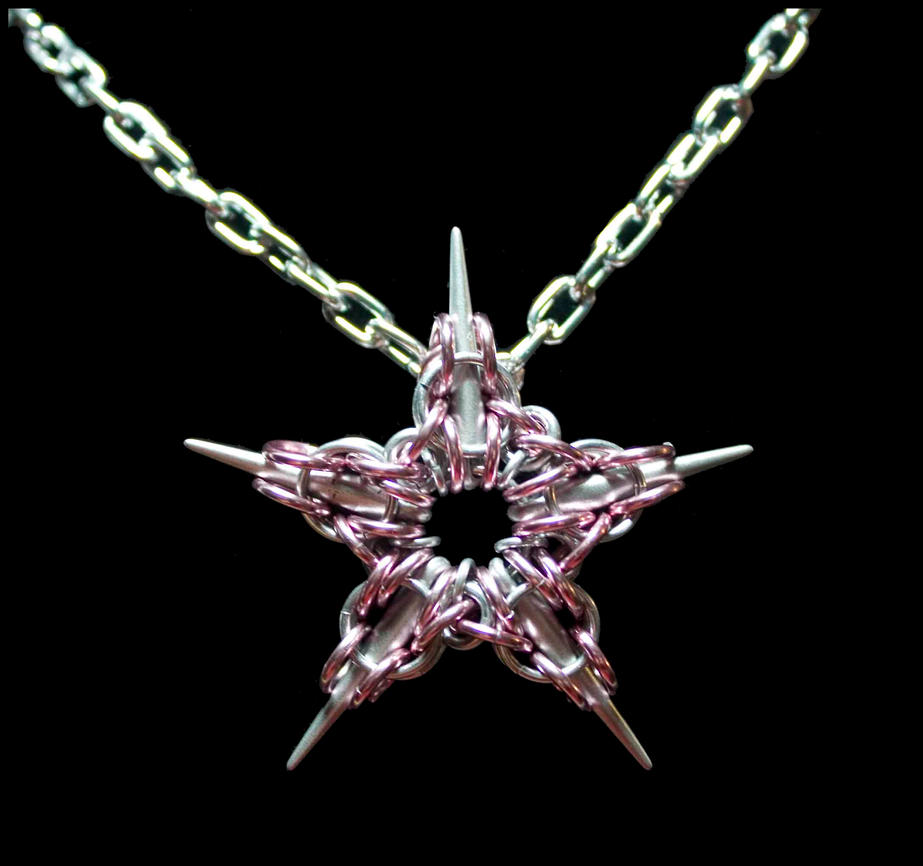 Pink Captive Star Chain Maille Pendant by FeMailleTurtle