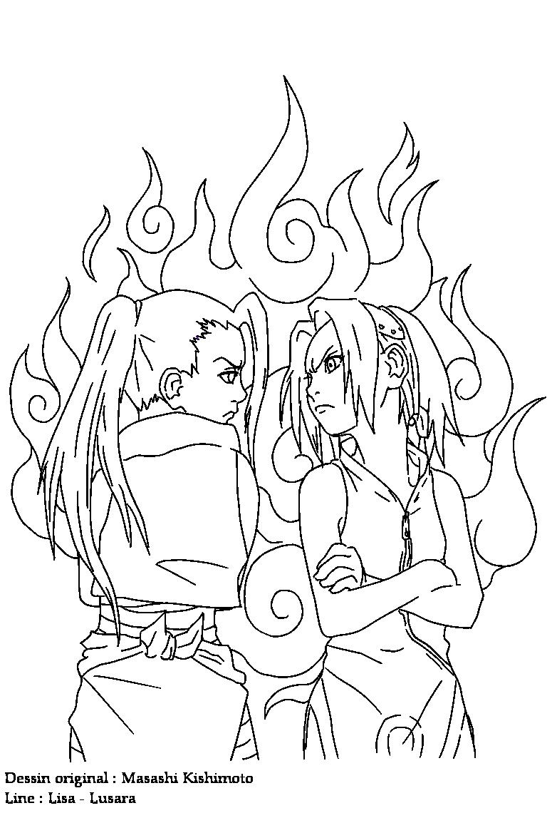 Ino vs sakura lineart by lusara on deviantart for Naruto sakura coloring pages