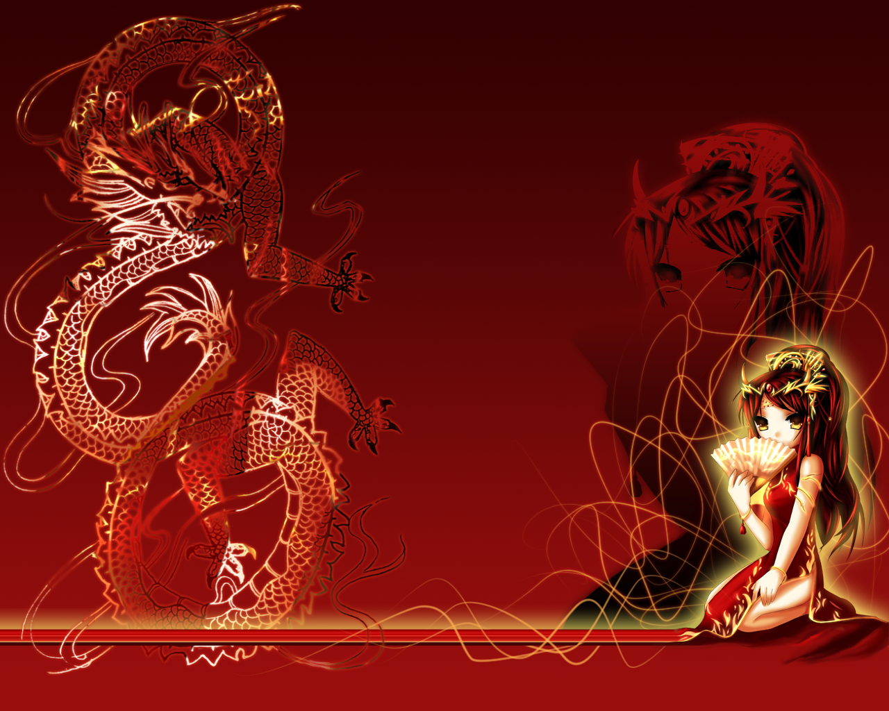 Red Chinese Dragon Wallpaper