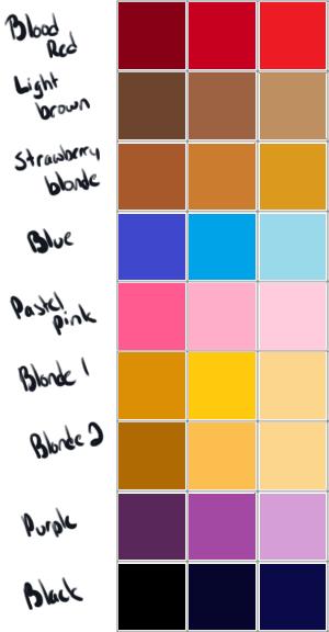 Hair color palette by poowulpi on DeviantArt