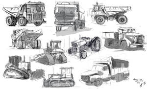 Concstruction Vehicles Sketches - Practice by DeaDerV23