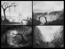 4 fantasy landscapes by DeaDerV23