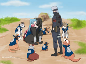 Kakashi's Ninken with Mina by Pungpp