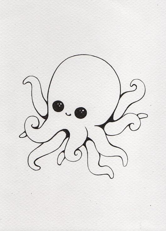 Cute squid lineart by Kokorvesa