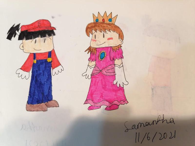 Eizan and Okuni as Mario and Peach