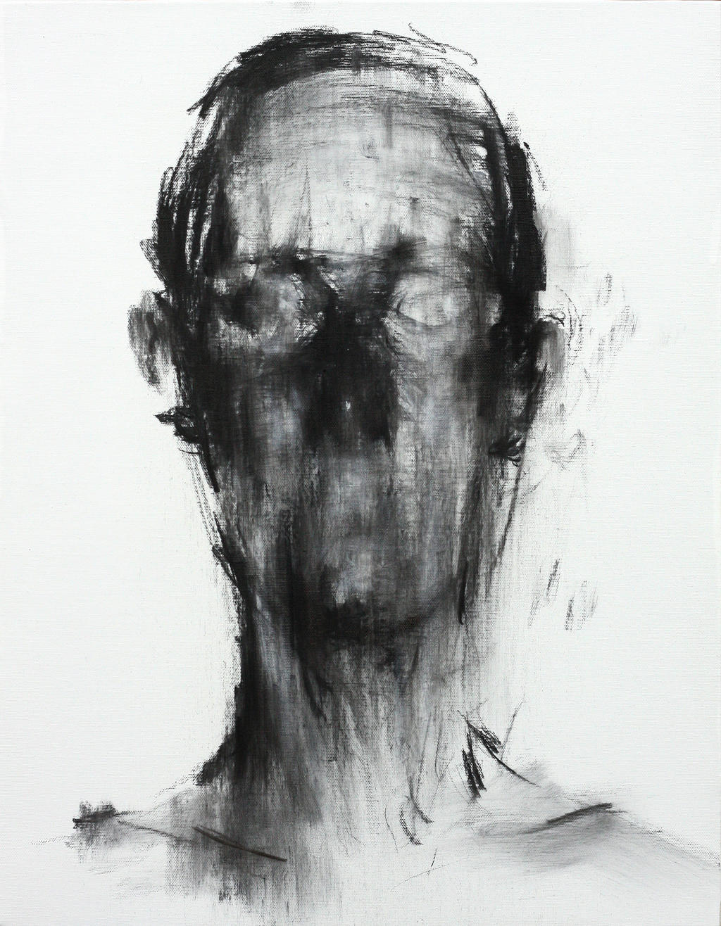 [106] Untitled Charcoal On Canvas 53.2 X 41 Cm by ShinKwangHo