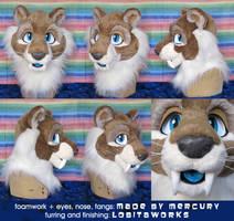 Brewster the Sabertoothed Tiger - Head by LobitaWorks