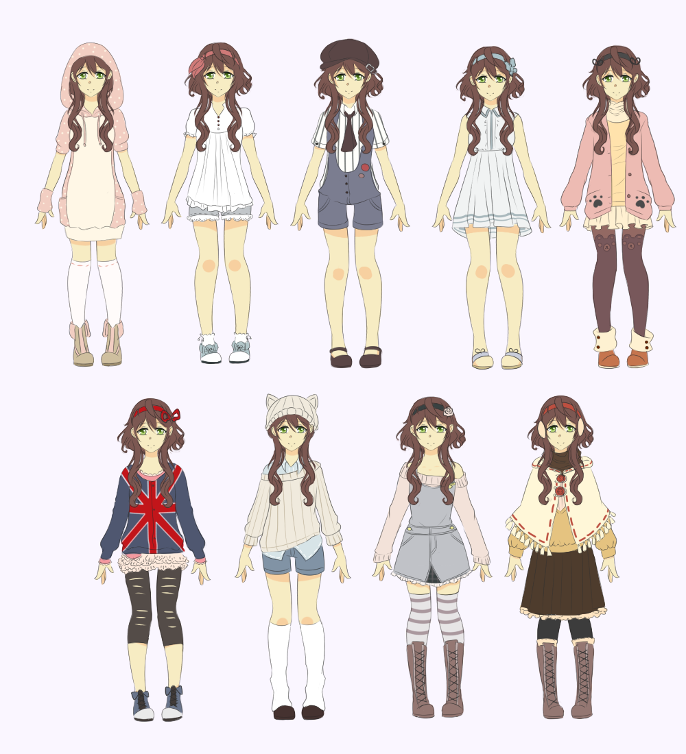 Nao's outfits by Juuri-No-Sekai on DeviantArt