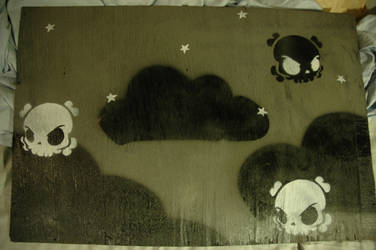 black clouds and little skulls