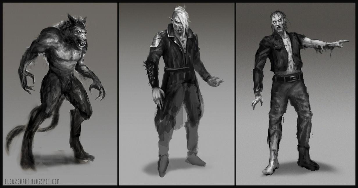 Werewolf  vampire  zombie Zombie Vs Vampire Vs Werewolf