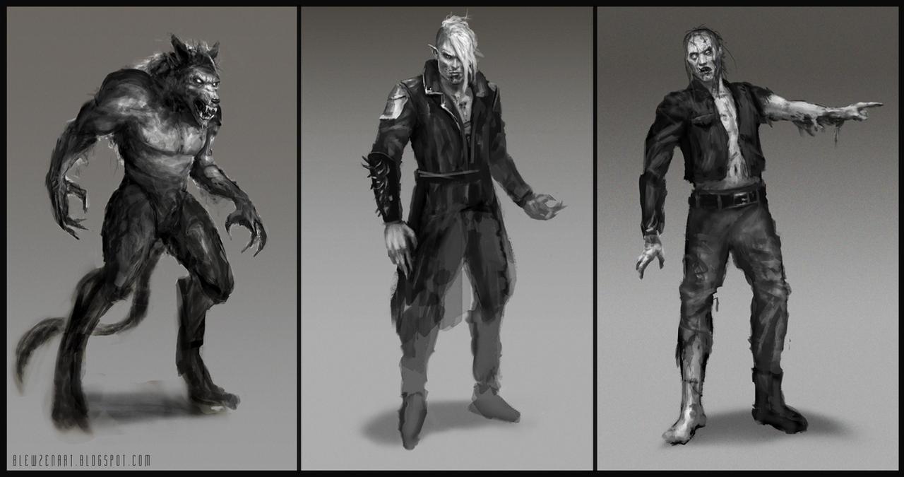 Werewolf, vampire, zombie sketches