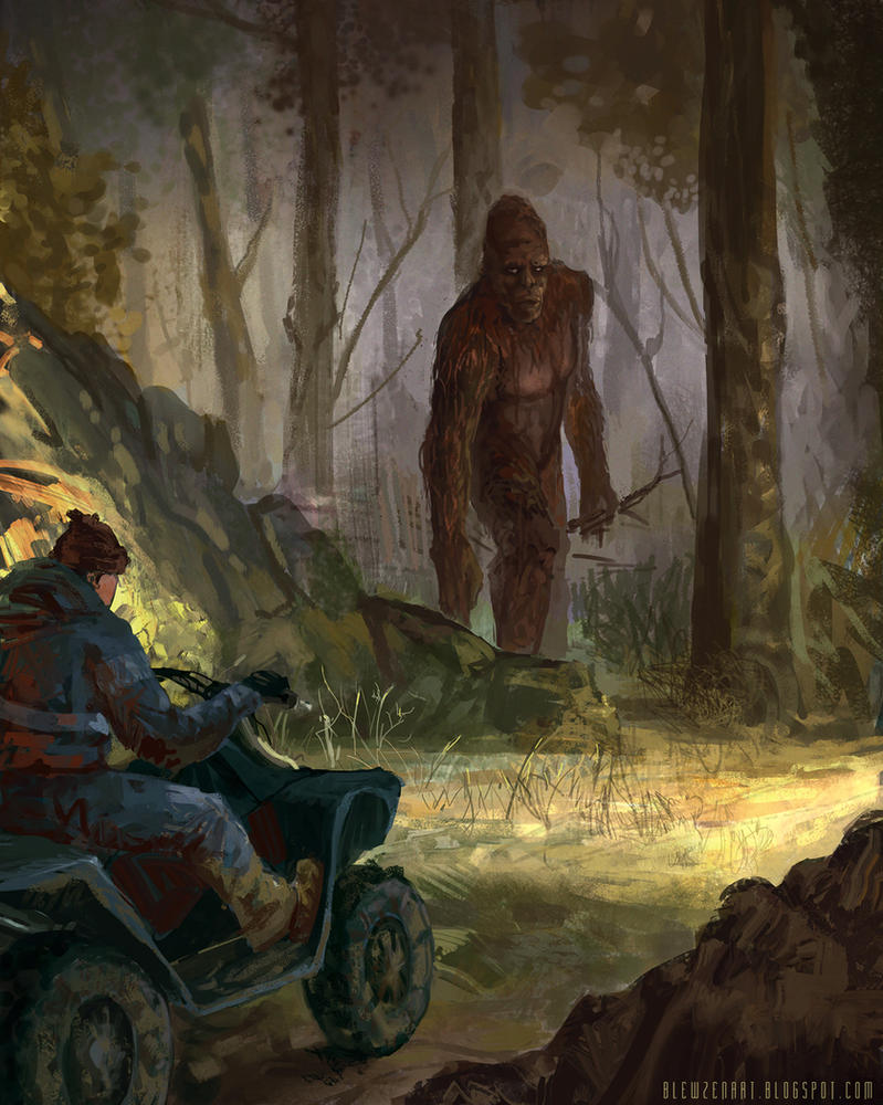 Bigfoot vs Man on ATV by blewzen