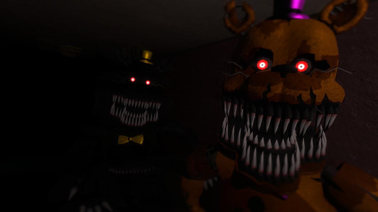 Nightmare and nightmare fredbear by scatmangu on deviantart