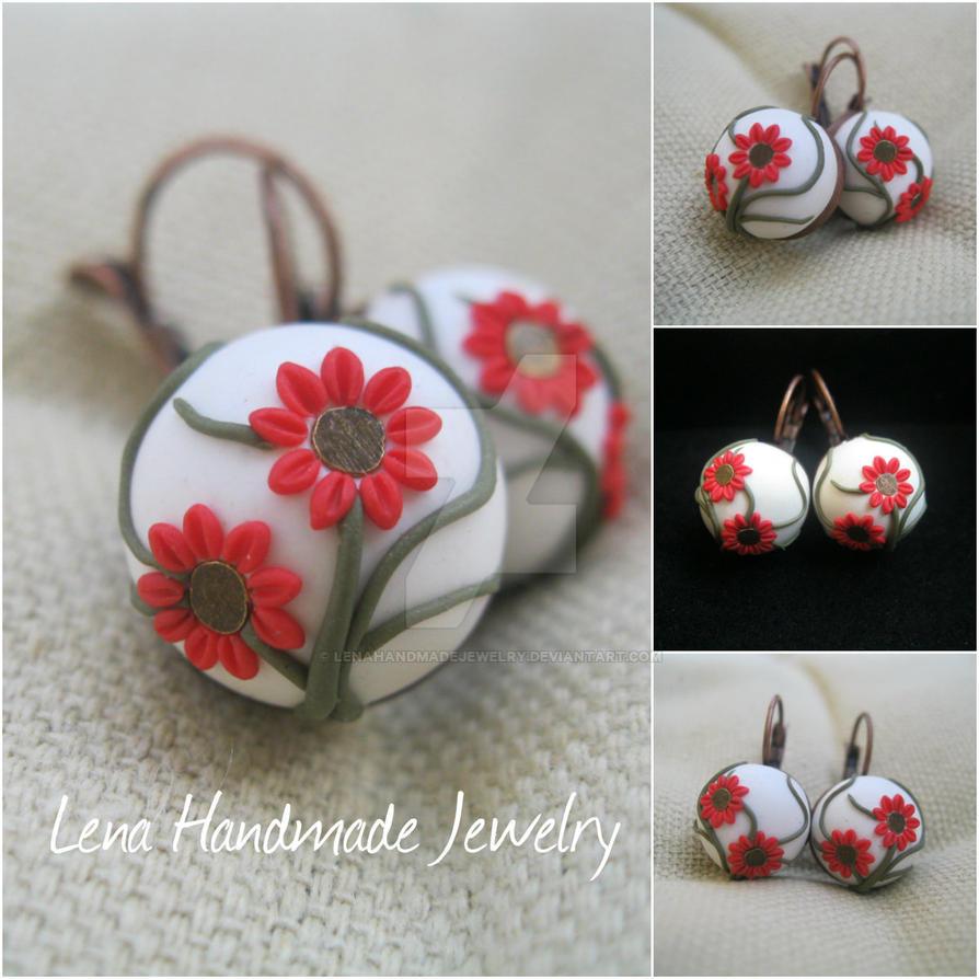 Earrings - little red flowers by LenaHandmadeJewelry