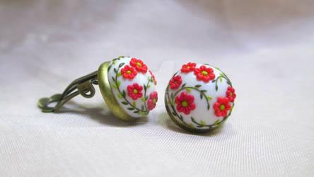 Red flower garden Cabochon Clip on Earrings by LenaHandmadeJewelry