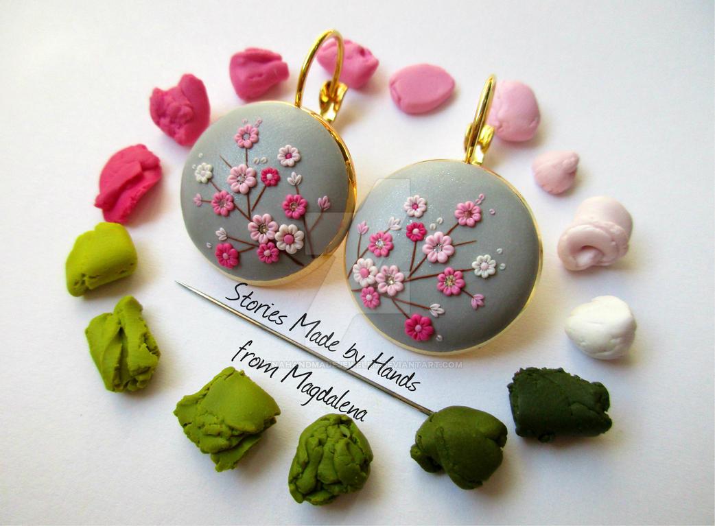 Sakura Clay Handmade Earrings made with a needle by ...
