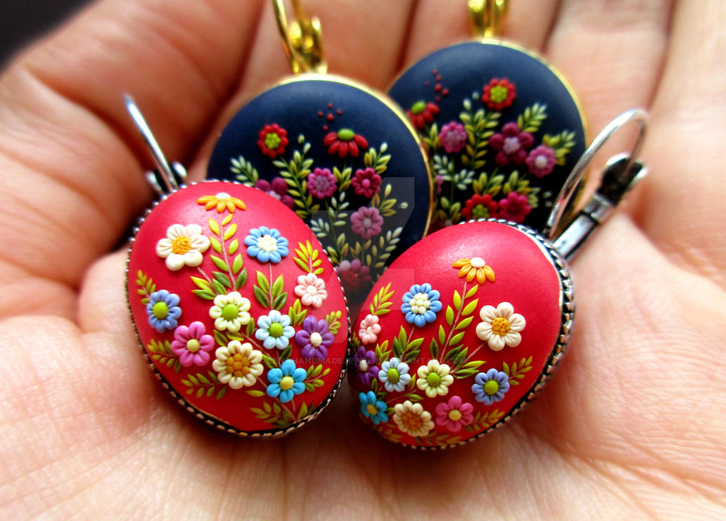 Handmade Polymer Clay Embroidery Jewelry by LenaHandmadeJewelry