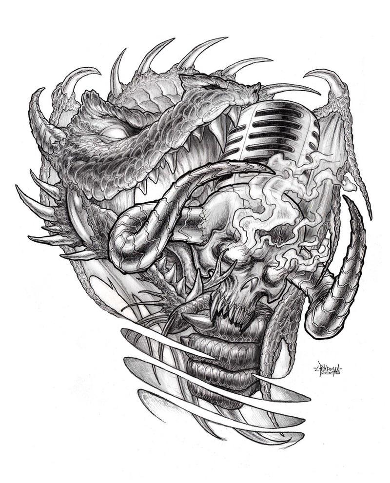 Microphone Feast - shoulder tattoo