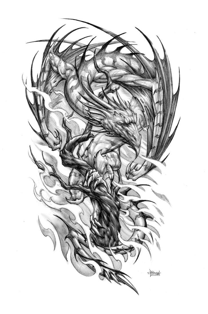 Tree Dragon - sleeve tattoo