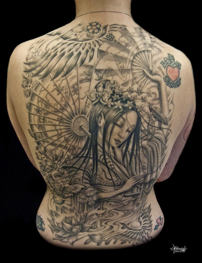 Back Piece Japanese Geisha Tattoo Picture 1