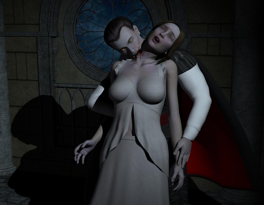 Sexy Vampire Girl Bite Neck-5330