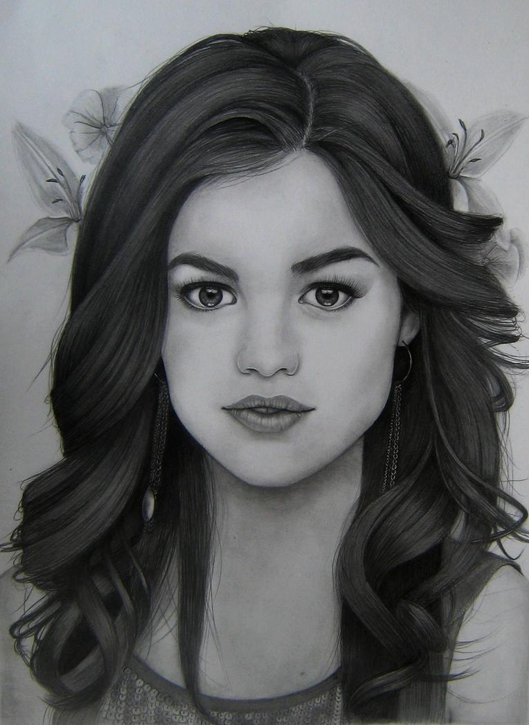 Lucy Hale's Pencil Portrait by Aelini