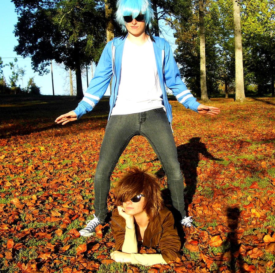 Mordecai and Rigby Gangnam style by LazyAiCosplay
