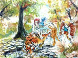 MAGI : Morgiana, Aladdin and Alibaba in the Forest by Shumijin