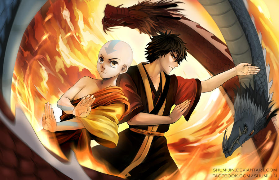 Avatar Aang And Zuko By Shumijin