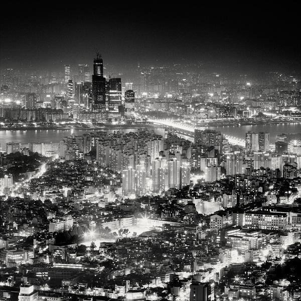 черно белое фото сеула #9