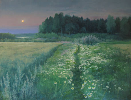 Moon over field
