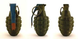 Grenade, Mk2, three-view