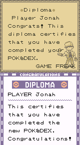 Pokedex Completion Diplomas. by Jonah-1999