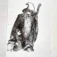 Bilbo chatting to Gandalf by GentianaVerna