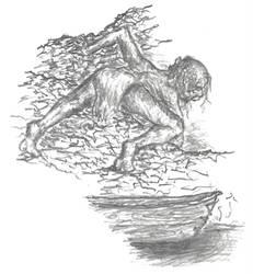 Archive (2000 Tolkien notepaper) - Gollum+Bilbo(G)