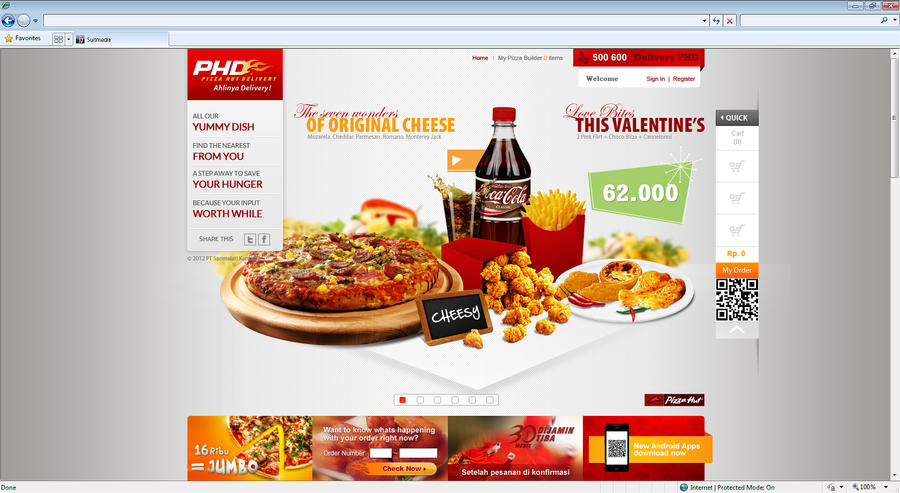 Website for PHD Pizza Hut Delivery by fly2sunt on DeviantArt