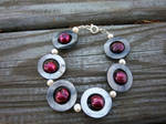 Victorian Cranberry Shell and Pearl Bracelet by DeathInTheReaper