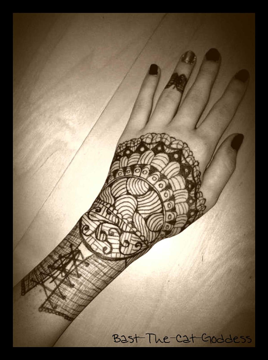 My henna drawing by Bast-The-Cat-Goddess