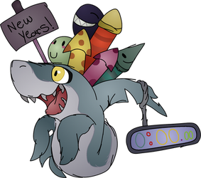 Happy new year SHARKK! HOOLIDIDDDDIDI by fanaticalpokeblack