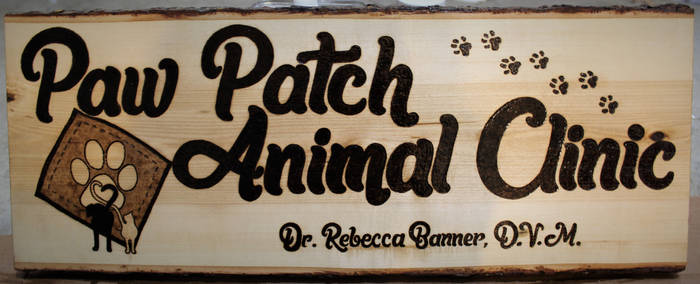 Paw Patch Animal Clinic Woodburned Sign