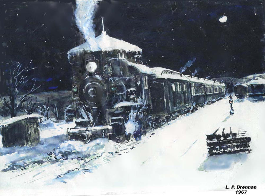 Night Train in Snow by LPBrennan