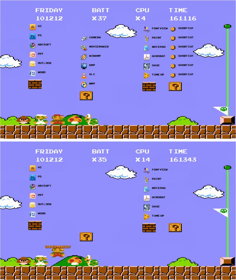 super mario themed desktop for xwidget by iAmAneleBiscarra