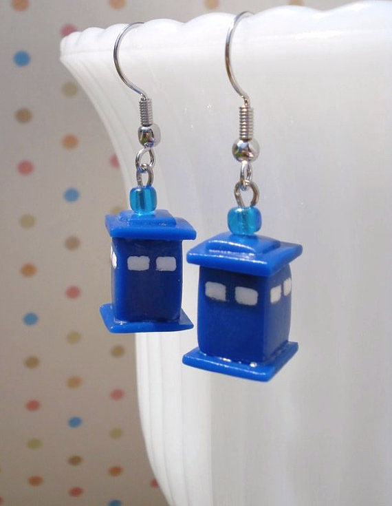 TARDIS Earrings by VapidRose