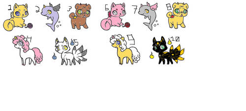 9 Adoptables Opened 2-4 points 7/9 open by ArkinAngeloWolfe