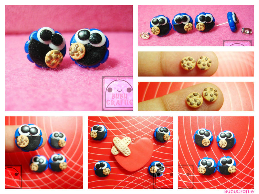 Cookie Monster Earring Studs Collage by efeeha